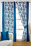 HOMEC Trendy Printed Door Curtains Set of 2 (Size - Door 46 X 84 inch/Color - Blue)