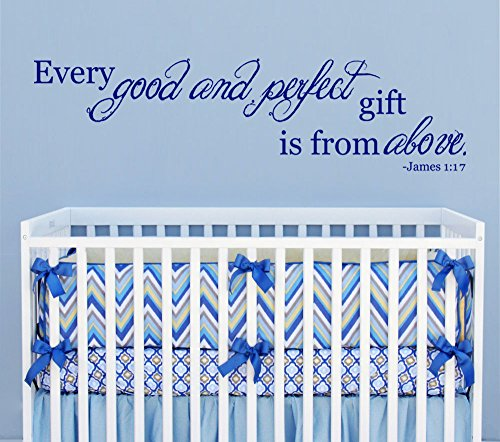 Good and Perfect Gift From Above James 1:17 Scripture Vinyl Wall Decal [Navy] Nursery Décor Baby Newborn Child Bedroom