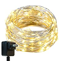 String Lights,Oak Leaf 33ft LED Starry Lights With UL Certified 3V Power Adapter For Seasonal Decorative Christmas Holiday Wedding Parties Home Bedroom,Warm White 100 Leds from Oak Leaf