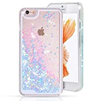 Urberry Iphone 5/5S/SE Case,Running Glitter Cover, Sparkle Love Heart, Creative Design Flowing Liquid Floating Luxury Bling Glitter Sparkle Hard Case for iPhone 5/5s/SE with a Screen Protector by Urberry