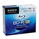 Sony Blu-ray Disc 10 Pack - 50GB 4x Speed BD-R DL Version 2010di Sony