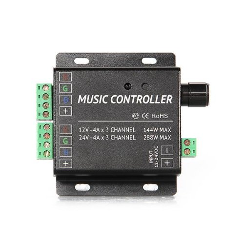 12A 12-24V 2 Channels Music Controller Remote For Rgb Led Light Strip
