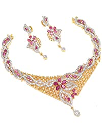 Geode Delight Gold Plated American Diamond Necklace Set For Women
