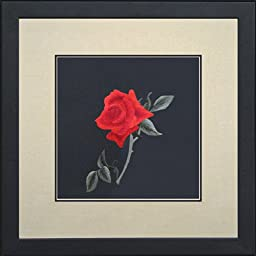 King Silk Art 100% Handmade Embroidery Love Red Rose Petals Stem Chinese Print Framed Flower Floral Painting Gift Oriental Asian Wall Art Décor Artwork Hanging Picture Gallery 36005WFG