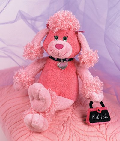 Pink French Poodle Puppy Dog Plush Stuffed Animal -