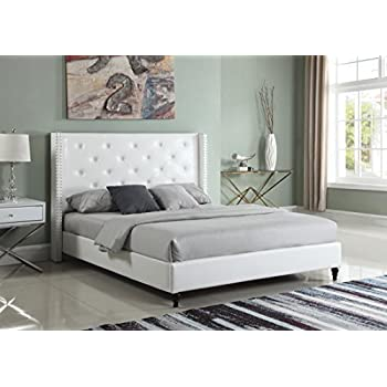 """Home Life Premiere Classics Leather White Tufted with Nails Leather 51"""" Tall Headboard Platform Bed with Slats King - Complete Bed 5 Year Warranty Included 007"""