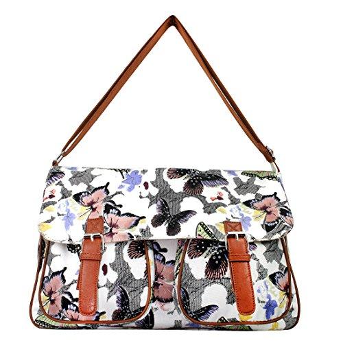 Charlie Clark, colore: bianco, motivo: farfalla, in tela, senza lacci, collezione Back to School-Borsetta College Fasion da ufficio, da donna