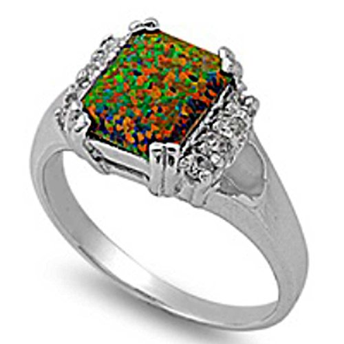 8Mm 2Ctw Sterling Silver October Black Fire Opal Birthstone Emerald Ring 4-11 & Half Size 6.5, 7.5 & 8.5 (11)