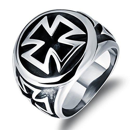Fate Love Men's Stainless Steel Ring Silver Black Vintage Knights Templar Black Cross Rings Biker (Mens Templar Knight Costume)
