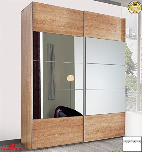 Arte M Schwebeturenschrank 319726 Kleiderschrank 2-turig eiche sägerau / Spiegel 222cm