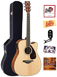 Yamaha FGX700SC Solid Top Cutaway Acoustic-Electric Guitar Bundle with Hardshell Case, Tuner, Instructional DVD, Strings, Pick Card, and Polishing Cloth by Yamaha