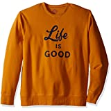 Life is good Men's Go-To Crew Script & Bold Sweater, Artisan Gold, X-Large
