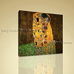 Gustav Klimt Repro Canvas Print The Kiss HD Inner Framed Wall Art Home Decor Stretched Ready to Hang 30\