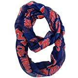NCAA Mississippi Old Miss Rebels Sheer Infinity Scarf, One Size, Blue