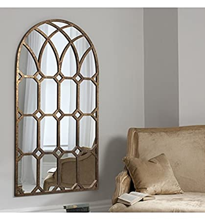 KHADRA AGED BRONZE LARGE ARCHED WINDOW WALL MIRROR