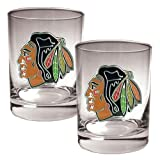 NHL Chicago Blackhawks Two Piece Rocks Glass Set - Primary Logo at Amazon.com