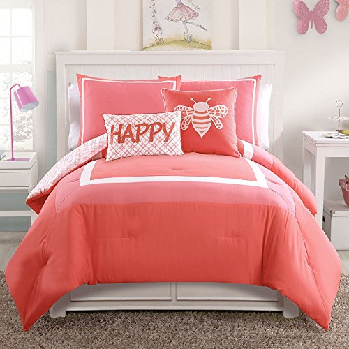 Comforter Sets Twin XL Girls Dorm Bedding Coral Pink Colorful 4 Pc. Sleep Bedroom Goodnight - Bed in a Bag Set (Good Night Gecko compare prices)