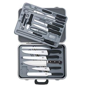 Victorinox 24-Piece Gourmet Knife Set, Black Fibrox Handles with Attache Case by Victorinox