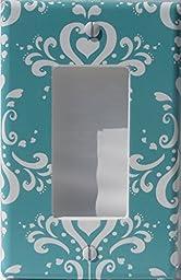 Aqua Damask Light Rocker Switch Plate / Single Toggle / Damask with Hearts Nursery Wall Decor (Rocker Switch Plate Cover)