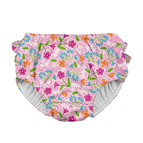 iplay アイプレイ 水遊び用パンツ ベビースイム オムツ機能付スイミングパンツ  女の子 (3T:2-3歳/13.5-17kg, Pink SpringGarden)