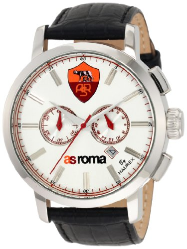 Haurex Italy Men's R9330UWW AS Roma Maestro Chronograph Silver Dial Black Leather Sport Watch