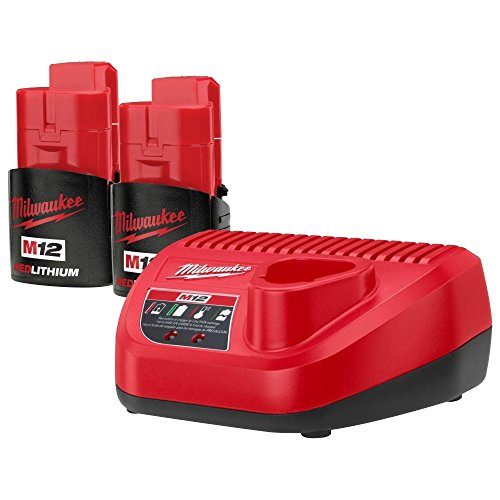 Milwaukee 48-11-2401 (2) M12 RED LITHIUM 2.0 12-Volt Lithium-ion Cordless Battery and (1) 48-59-2401 12Volt Lithium Battery Charger NEW (Milwaukee Fuel 12 Volt compare prices)