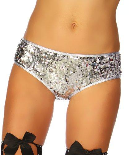Amynetti Sexy Damen Dessous Burlesque Kostüm Reizwäsche Unterwäsche Slip Panty Höschen mit Pailletten Süß Silber Glänzend