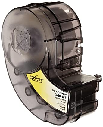 "Brady X-20-483 IDXPERT 1"" Height, 2"" Width, B-483 Ultra Aggressive Polyester, Black On White Color Label (100 Per Cartridge)"