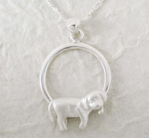 Sterling Silver Napping Dog Necklace, 20 inches
