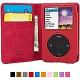 Snugg iPod Classic PU-Leder Hülle (Rot) - Flip Case mit lebenslanger Garantie + Kartenfächern & Standfunktion