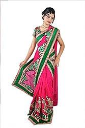 Aradhya Women's Embroidered patch work Georgette Saree (Multi_ara004)