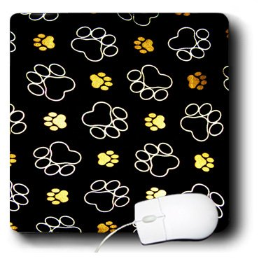 3dRose LLC 8 x 8 x 0.25 Inches Mouse Pad, Paw Prints Golden Brown Tracks (mp_76926_1)