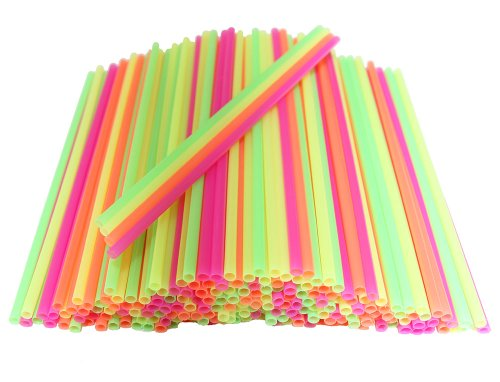 Plastic Disposable Cocktail Sip Stirrers 400 Count Neon Colored