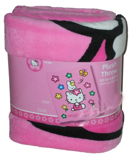 Hello Kitty 50 x 60 Stars & Butterfly Plush Throw
