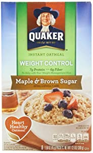 Quaker Instant Oatmeal Weight Control, Maple Brown Sugar, 8-Count Boxes (Pack of 4)