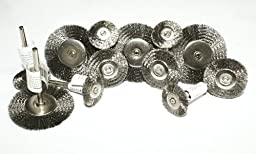 12PC Assorted Stainless Steel Wire Wheel Brush , 3 size 1.5 inch/1 inch/0.8 inch Rotary Tool Shank 1/8\