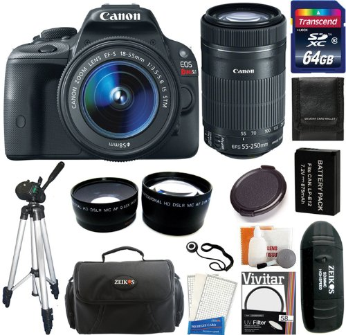 Canon Eos Rebel Sl1 Digital Slr Camera & Ef-S 18-55Mm Is Stm Lens With Ef-S 55-250Mm Is Stm Lens + 64Gb Card And Reader + Battery + Case + Filters + Tripod + Telephoto & Wide Angle Lens + Accessory Kit