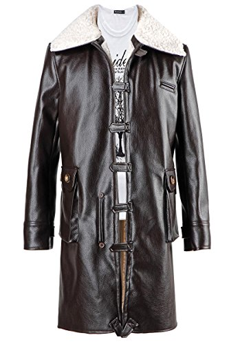 Trust Costume Long Brown Winter Coat Leather Jacket