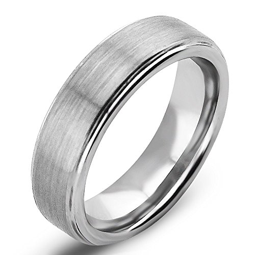 6mm Matte Step Edge Light Weight Tungsten Ring Highly Durable Wedding Bands White Couple Rings Mens Womens Tungsten Bands, Christmas Gift for Boyfriend/girlfriend, Matching Wide Rings with Grooves, Tail Ring Thumb Ring (7.5) (Platinum Wedding Band Couple compare prices)