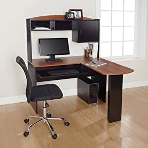 Corner L Shaped Office Desk with Hutch, Black and Cherry