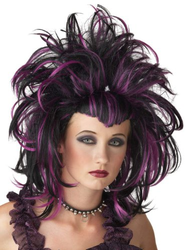 Sexy Punk Wig Evil Sorceress Purple Gothic 2 Tone Theatre Costume Accessory