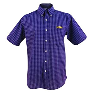 LSU Tigers Mens Reflex Button-Down Purple Plaid Short Sleeve Shirt by Antigua