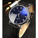 メンズ 男性 薄型 腕 時計 レザー 革 ベルト ビジネス ウォッチ シンプル スーツ 軽量 (ブラック&ブラック)