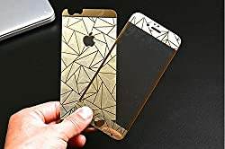 Premium 3D Diamond Pattern Mirror Front + Back Tempered Glass Screen Protector for Apple Iphone 6S/6 PLUS Gold