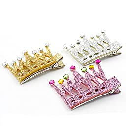 CT Little Girls\' Glitter Crown Hair Accessories Fashion Clip 13pcs set