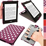 IGadgitz Purple with White Polka Dots PU 'Heat Molded' Leather Case Cover for Amazon Kindle Paperwhite 2012 & 2013 versions 3G 6 Display Wi-Fi 2GB. With Sleep/Wake Function & Integrated Hand Strap