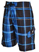 Speedo Mens Cargo Swim Plaid Boardshorts (Black/Blue, Medium)