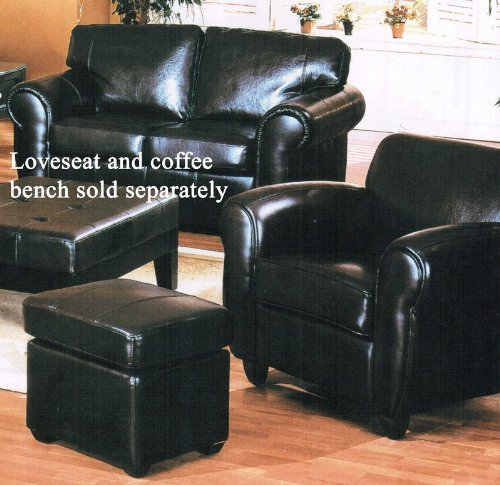 2pc Sofa Chair & Ottoman Set Espresso Bycast Leather
