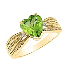 buy Solid 14K Yellow Gold Peridot And Diamond Proposal Ring (Size 5)
