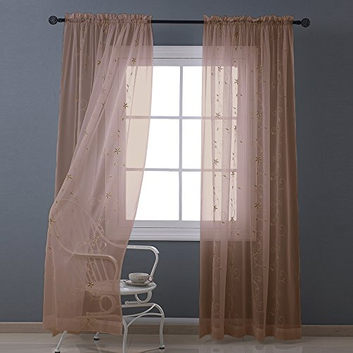 Nicetown Spring Blooms Voile - Floral Embroidered Sheer Window Curtains / Drapes (One Pair, W60L84, Mocha) (Sliding Door Pattern Curtains compare prices)